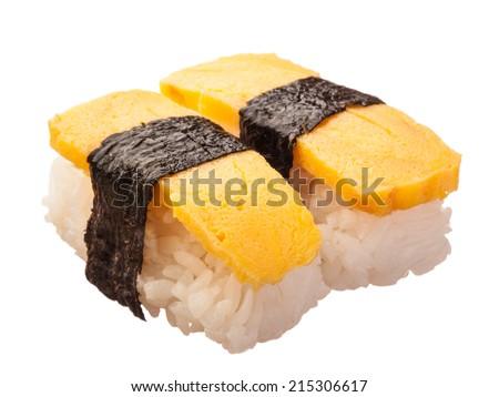 Japanese sushi isolated on white - stock photo