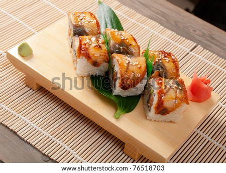 Japanese sushi maki . traditional japanese food.Roll made of Smoked eel - stock photo
