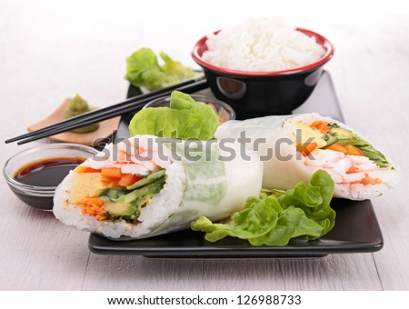 japanese sushi roll and rice - stock photo