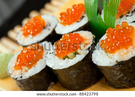 Japanese sushi . traditional japanese food.Roll made of Smoked fish and  roe - stock photo