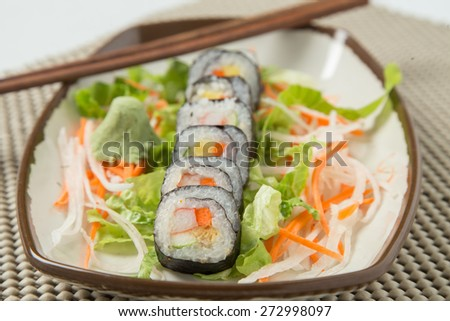 Japanese tasty sushi set - stock photo