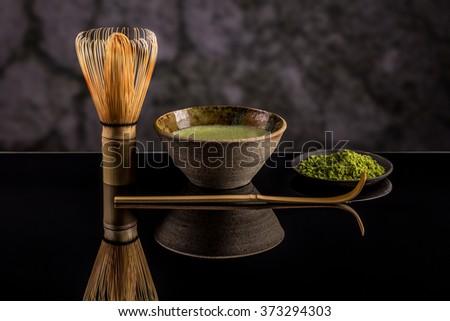 Japanese tea ceremony setting, Matcha green tea - stock photo