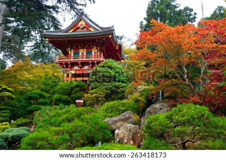Japanese Tea Garden in Golden Gate Park, San Francisco, California, USA - stock photo