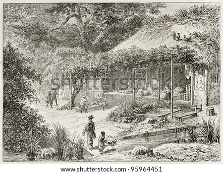 Japanese tea house in Yedo (Tokyo) surroundings. Created by Lancelot after Japanese engraving by unknown author, published on Le Tour Du Monde, Ed. Hachette, Paris, 1867 - stock photo