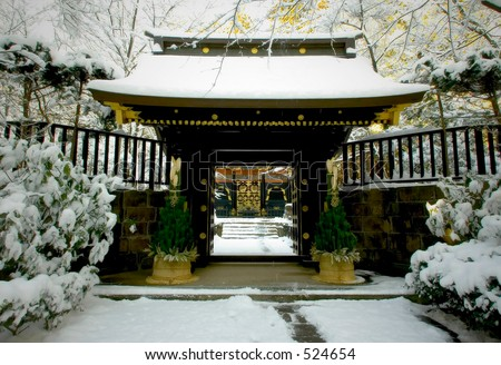 Japanese temple in winter - stock photo