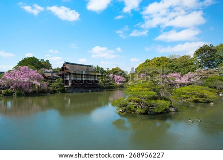 Japanese temple with zen garden - stock photo