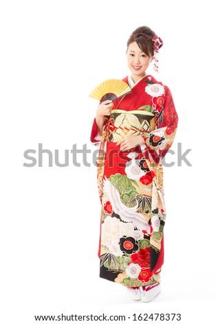 japanese traditional kimono woman on white background - stock photo