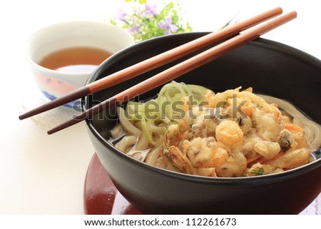 Japanese Udon Noodle with ginkgo nut tempura for autumn food image - stock photo