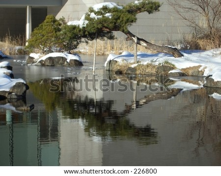 Japanese water garden at the foot of mount Fuji, Japan, in winter. - stock photo