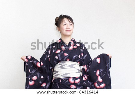 Japanese woman in kimono - stock photo