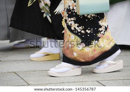Japanese Women in Traditional Dress at Meiji Shrine - stock photo