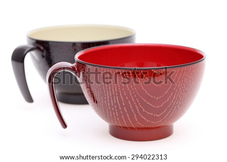 Japanese wooden cup isolated on white background - stock photo
