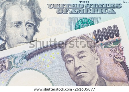 Japanese yen currency and dollar bank note use for currency concept - stock photo