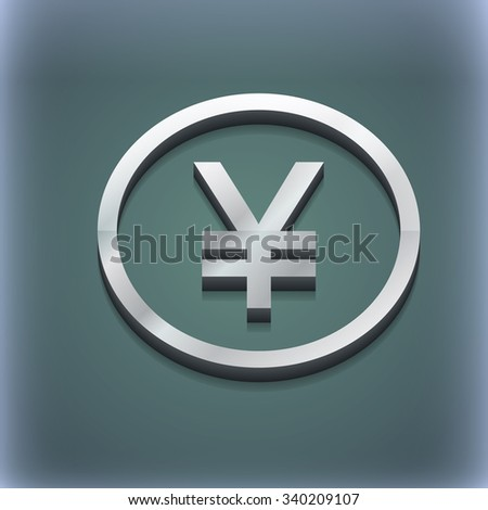 Japanese Yuan icon symbol. 3D style. Trendy, modern design with space for your text illustration. Raster version - stock photo