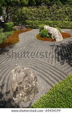 Japanese zen gardens in Kyoto - stock photo