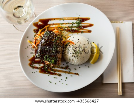 japanise meal with salmon shake teriyaki beautifully served on the plate - stock photo