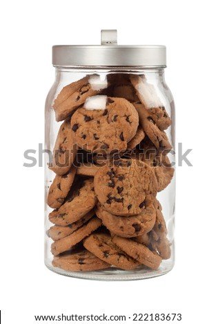 Jar full of chocolate chip cookies isolated on white background  - stock photo