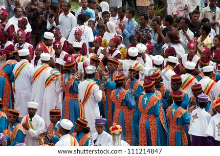 JAR MADA, ADDIS ABEBA - JAN 18:  Ethiopian Orthodox celebration of Epiphany. It is celebrated on January 19 each year during the Timkat Festival. January 18, 2012 in Jar Mada, Addis Ababa, Ethiopia - stock photo