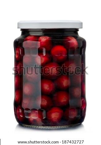 Jar of cherry compote isolated on white - stock photo