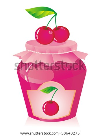 Jar of cherry jam and fresh cherry - stock photo
