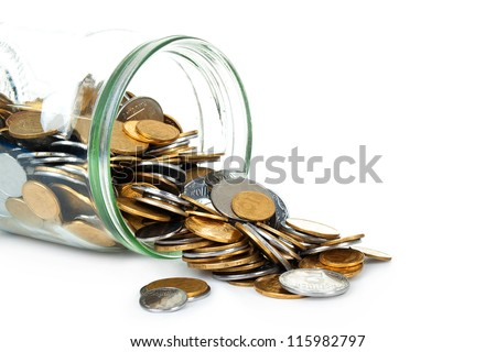 jar of coins on white background - stock photo