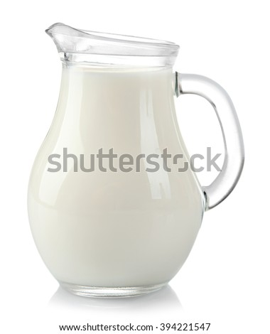 Jar of milk, isolated on white - stock photo