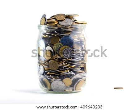 Jar of Money Isolated on a White Background - stock photo