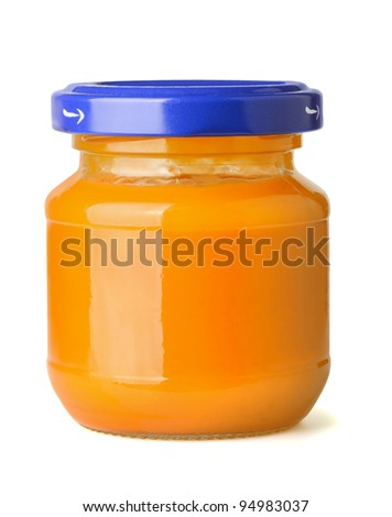 Jar of natural baby fruit puree isolated on white - stock photo