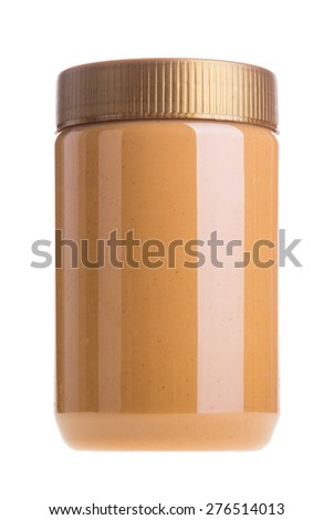 Jar of peanut butter on a white background - stock photo