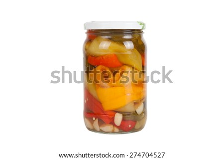 Jar of pickled peppers isolated on a white background. - stock photo
