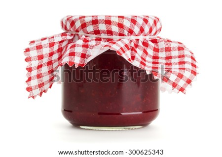 Jar of red jam with checkered cloth on top, isolated on white background - stock photo