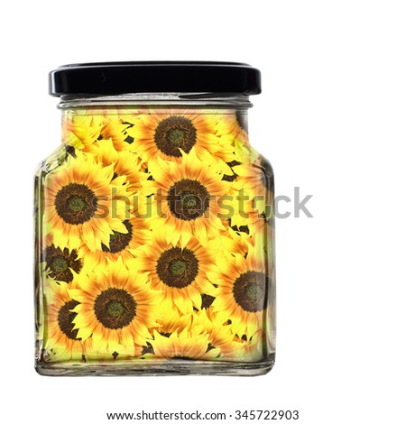 Jar of sunflowers, gift of joy, sunshine concept. Isolated on white. - stock photo