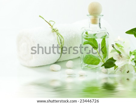 Jar with fresh leaves, flowers and towel (SPA concept) with soft focus reflected in the water - stock photo