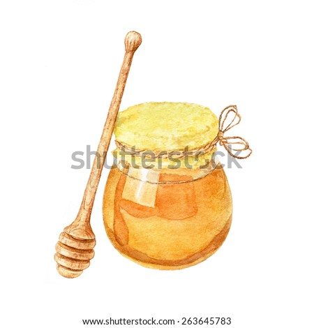 Jar with honey and honey stick. Watercolor illustration. - stock photo