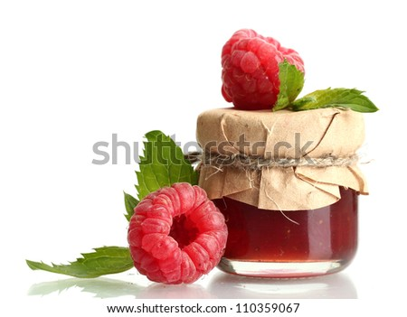 jar with jam and ripe raspberries with mint isolated on white - stock photo