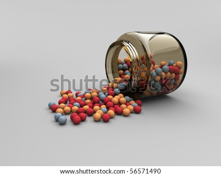 Jar with scattered radiation balls - stock photo