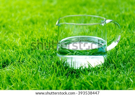 Jar with water standing on a green grass - stock photo