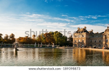 Jardin du Luxembourg - Luxembourg public gardens and French Senate in Paris, France  - stock photo
