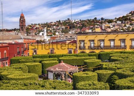 Jardin Town Tree Square San Miguel de Allende Mexico.  - stock photo