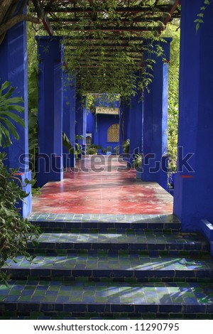 Jardine Majorelle in Marrakesh, Morocco, Africa - stock photo