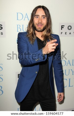 """Jared Leto at the """"Dallas Buyers Club"""" Los Angeles Premiere, Academy of Motion Picture Arts and Sciences, Beverly Hills, CA 10-17-13 - stock photo"""