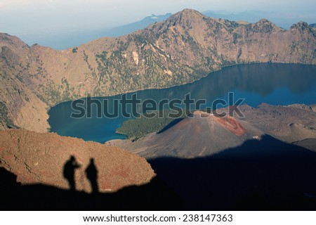 Jari Baru volcano and lake inside  Rinjani mountain, Lombok, Indonesia - stock photo