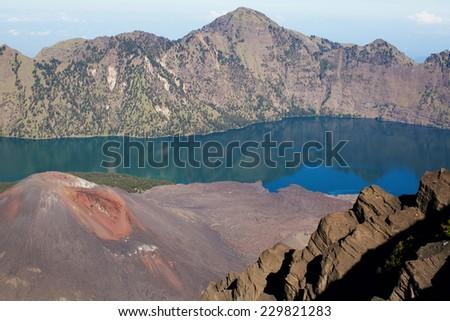 Jari Baru volcano inside  Rinjani mountain, Lombok, Indonesia - stock photo