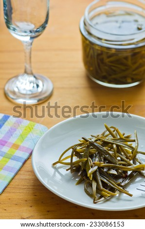 Jars canned vegetables - stock photo