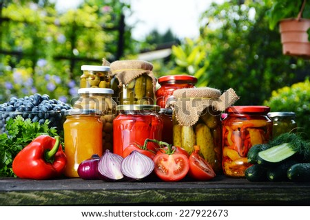 Jars of pickled vegetables in the garden. Marinated food. - stock photo