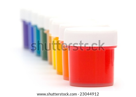 Jars with a paint - stock photo