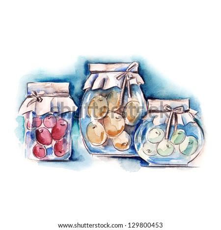 Jars with Berry Jam - stock photo