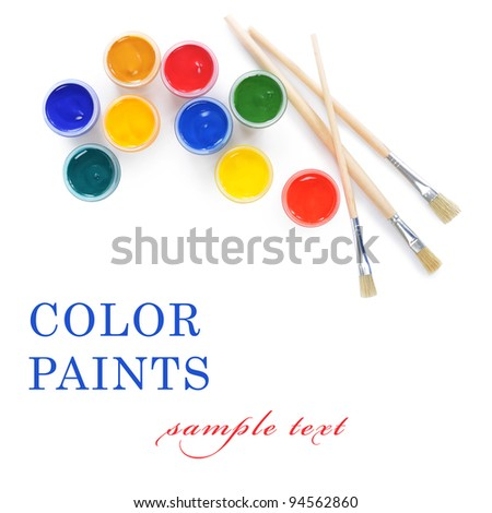 Jars with colour paints on white background - stock photo
