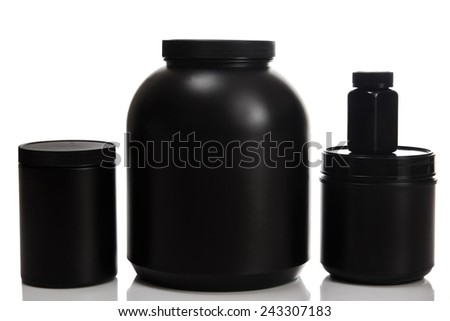 Jars with different food supplements - stock photo