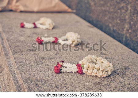 Jasmine garland , The flower in Thai Traditional Style , Vintage filter  - stock photo